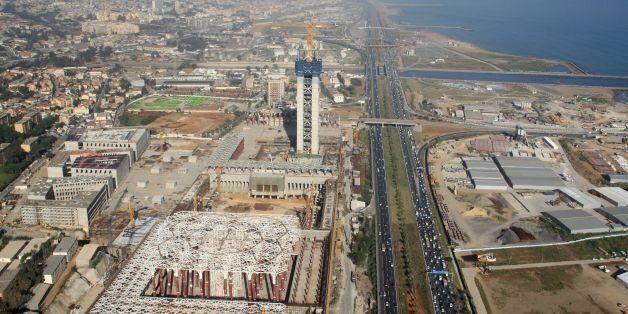 An aerial view taken on April 26, 2016, from a police helicopter above Algiers shows the construction...