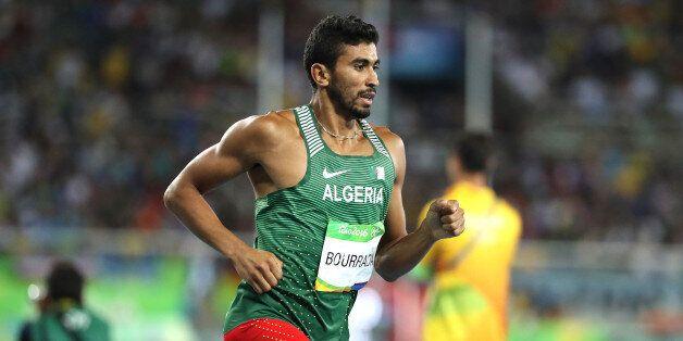 RIO DE JANEIRO, BRAZIL - AUGUST 18: Larbi Bourrada of Algeria competes in the 1500m of the Men's Decathlon...