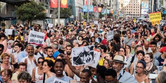MADRID, SPAIN - 2017/06/17: Thousands of people demanding to welcome refugees during a demonstration...