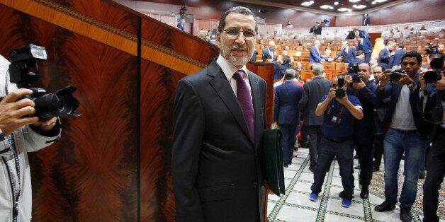 Moroccan Prime Minister Saad Eddine el-Othmani arrives at the Moroccan Parliament in Rabat, Morocco April...