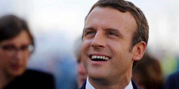 French President Emmanuel Macron visits the STX Les Chantiers de l'Atlantique shipyard site in Saint-Nazaire,...