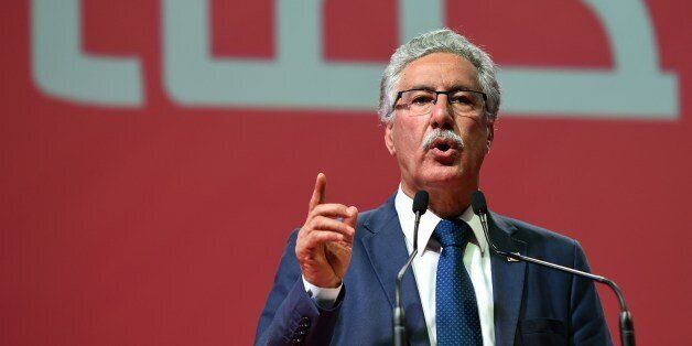 Tunisian leader of the Popular Front Party and presidential candidate, Hamma Hammami gives a speech during...