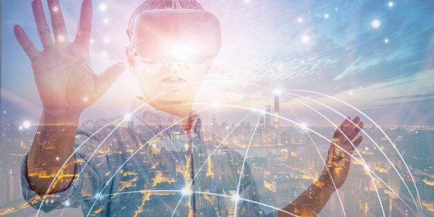 Double exposure of man wearing virtual reality