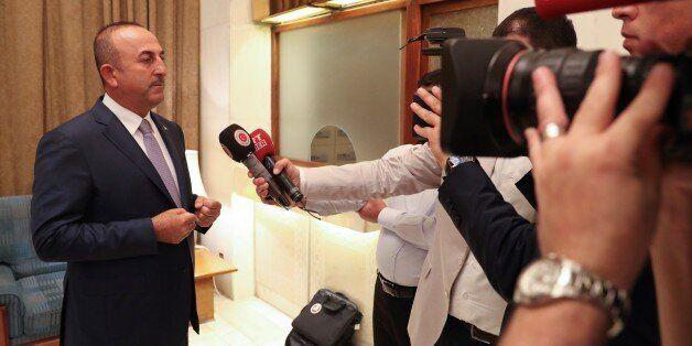 MECCA, SAUDI ARABIA - JUNE 16 : Turkish Foreign Minister Mevlut Cavusoglu speaks to media after a meeting...