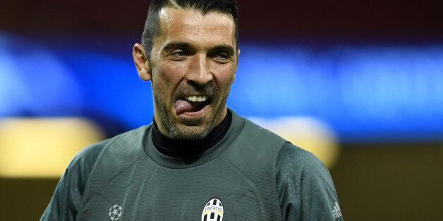CARDIFF, WALES - JUNE 02: Gianluigi Buffon of Juventus looks on during a training session ahead of the...