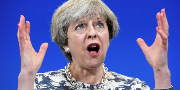 Britain's Prime Minister Theresa May gives an election campaign speech to Conservative Party supporters...