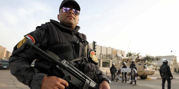 A member of the special police forces stand guard in Cairo, Egypt April 28, 2017. Picture taken April...