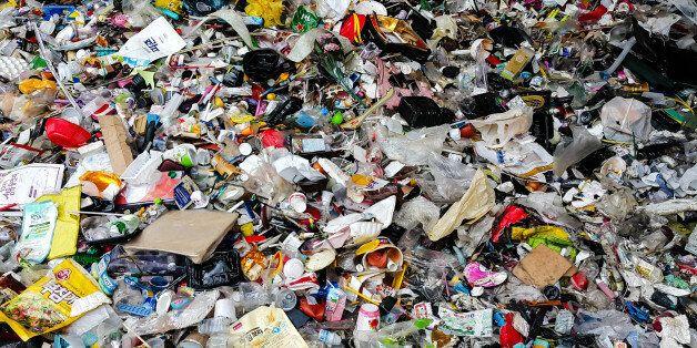 Plastic scrap in recycling center prior