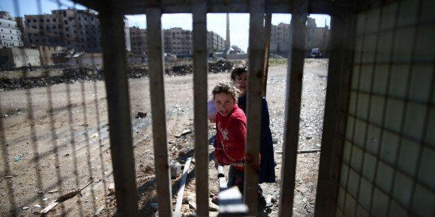 Des enfants syriens à Damas, 15 février