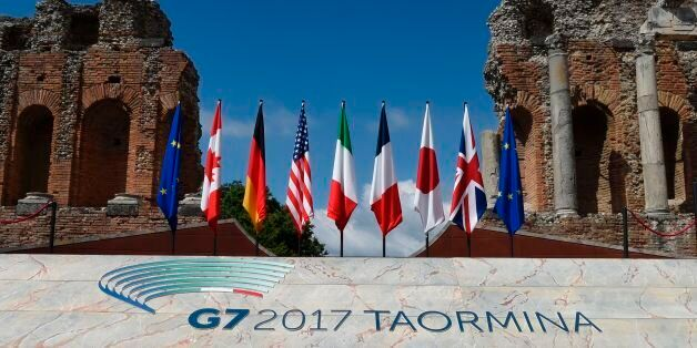 A picture shows flags on the stage of the ancient Greek Theater where Heads of State and of Government...