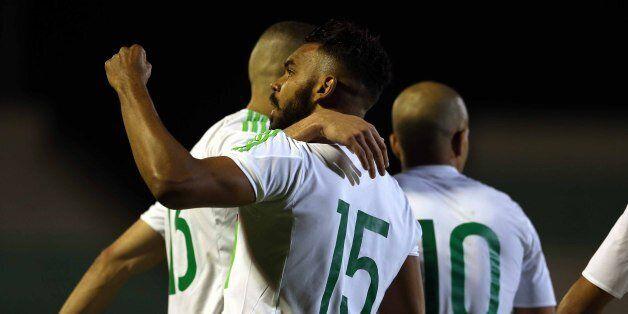 Soudani Hillal El Arabi of Algeria celebrates a goal during Friendly Match Algeria v Guinea at the Mustapha...