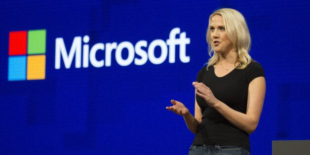 Andrea Carl, director of commercial communications at Microsoft Corp., speaks during Microsoft Developers...