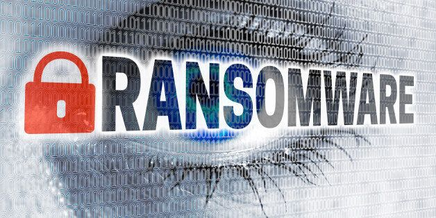 Ransomware eye with matrix looks at viewer