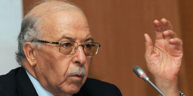 Governor of the Central Bank of Tunisia, Chedly Ayari, attends a news conference in Tunis with First...