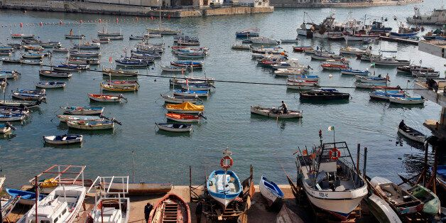 ALGIERS, ALGERIA - DECEMBER 6: A general view of the fishing harbour December 6, 2007 taken from Amilcar...