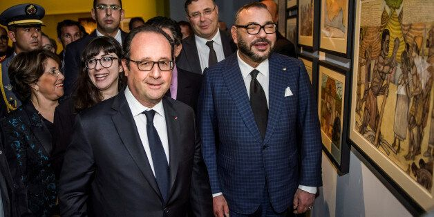 France's President Francois Hollande and King Mohammed VI of Morocco visit the Treasure of Islam exhibition...
