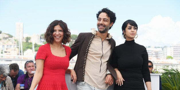 CANNES, FRANCE - MAY 19: (R-L) Actors Mariam Al Ferjani, Ghanem Zrelli and director Kaouther Ben Hania...