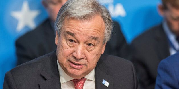 UN Secretary General Antonio Guterres addresses the London Somalia Conference' at Lancaster House, May...