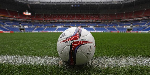 LYON, FRANCE - MAY 11: A Match ball on the pitch prior to the Uefa Europa League, semi final second leg...