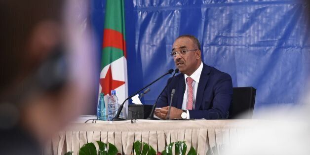 Algerian Interior and Territorial Collectivities Minister Noureddine Bedoui announces the results of...