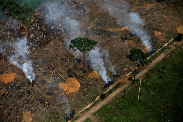 An aerial view shows a deforested plot of the Amazon near Porto Velho, Rondonia State, Brazil, September...