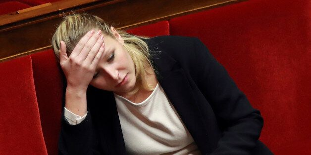 French MP Marion Marechal-Le Pen looks on during a session of the French National Assembly on a draft...