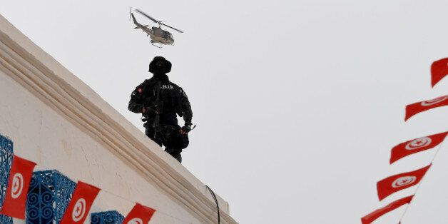 Tunisian special forces stand guard outside the Ghriba synagogue on the Tunisian resort island of Djerba...