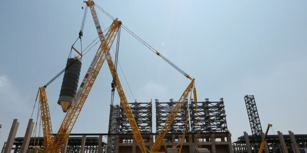 A crane is seen moving a new coke drum to be collocated in a platform at the Mexico's state-owned company...