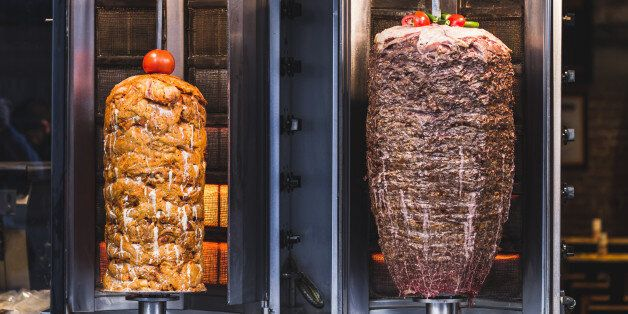 Bbq meat for turkish doner kebab in a restaurant in istanbul. Asian street