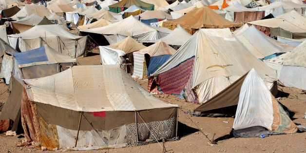 A general view of the Saharawi protest camp on the outskirts of Western Sahara's main city, Laayoune,...