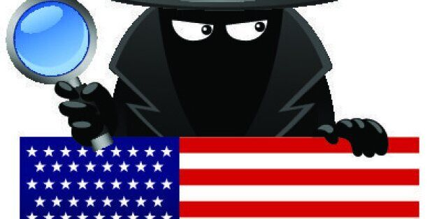 Vector illustration of a spy with magnifying glass behind an american