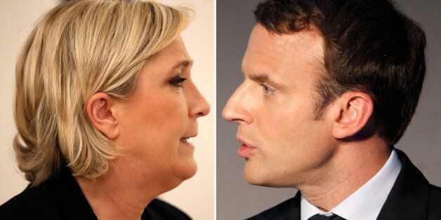 A combination picture shows portraits of candidates for the second round in the 2017 French presidential...