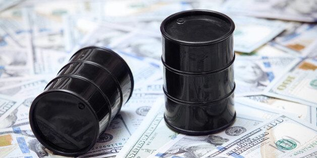Oil drums on US dollars