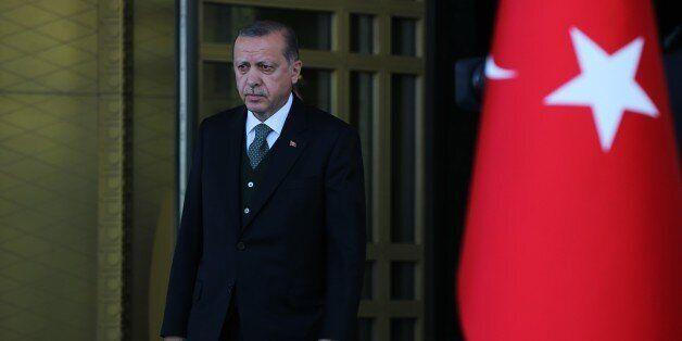 ANKARA, TURKEY - APRIL 26 : Turkish President Recep Tayyip Erdogan welcomes President of Somalia Mohamed...