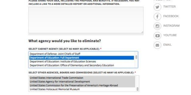 Avec ce site, Trump va laisser les Américains choisir quels ministères ils veulent