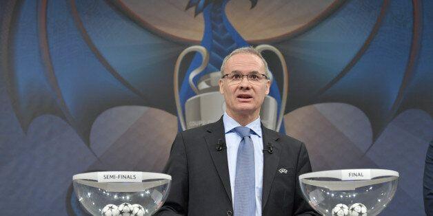Vendredi 21 avril 2017 à Nyon, Suisse. Giorgio Marchettti, directeur des compétitions de l'UEFA à quelques...