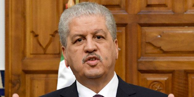 Algerian Prime Minister Abdelmalek Sellal gives a press conference on March 9, 2017 in Tunis. Algerian...