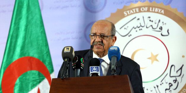 Algeria's Minister Delegate for Maghreb and African Affairs, Abdelkader Messahel, speaks during a press...