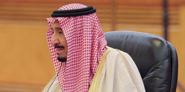 Saudi Arabia's King Salman bin Abdulaziz Al-Saud looks on during the meeting with China's President Xi...