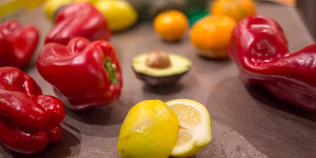 YARMOUTH, ME - MARCH 6: Some peppers, lemons, avocados, oranges that have some superficial issues are...