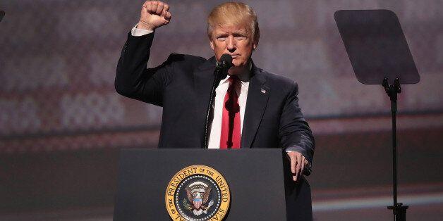 ATLANTA, GA - APRIL 28: President Donald Trump speaks at the NRA-ILA's Leadership Forum at the 146th...