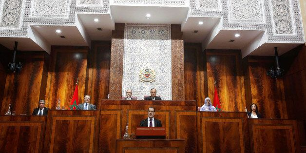 Moroccan Prime Minister Saad Eddine el-Othmani delivers his first speech presenting the government's...
