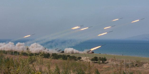 A military drill marking the 85th anniversary of the establishment of the Korean People's Army (KPA)...