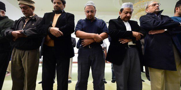 Muslims from the Ahmadiyya Muslim Community pray at the Baitul Hameed Mosque in Chino, California on...