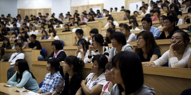 YANJI, CHINA - SEPTEMBER 9: Yanji University of Science and Technology President Kim Chin-Kyung lectures...