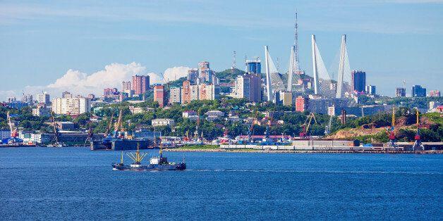 Vladivostok city aerial panoramic view, Primorsky Krai in Russia. Vladivostok is located at the head...