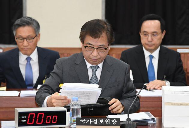 서훈 국가정보원장이 24일 서울 여의도 국회에서 열린 정보위원회 전체회의에