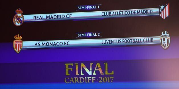 The result of the UEFA football Champion's league draw semi-finals is displayed on a screen, on April...