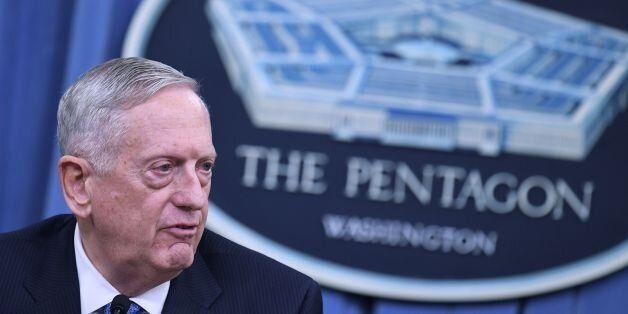 US Secretary of Defense James Mattis takes part in a briefing at the Pentagon in Washington, DC on April...