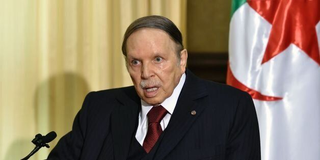 Algerian President Abdelaziz Bouteflika meets with the French prime minister at his residence during...